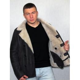 Мужская дубленка коричневая с белым мехом 9142