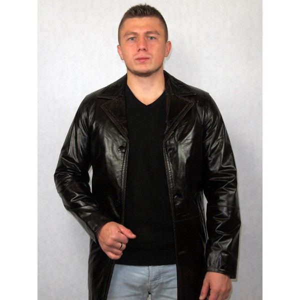 Куртка мужская черная кожаная (Артикул B-0336)