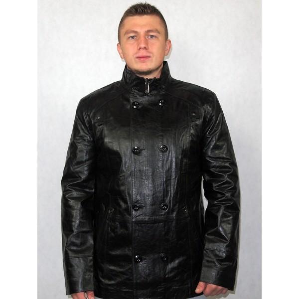 Куртка мужская кожаная черная (Артикул 231)
