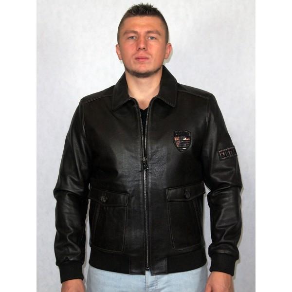 Куртка-пилот мужская кожаная коричневая (Артикул 1473)