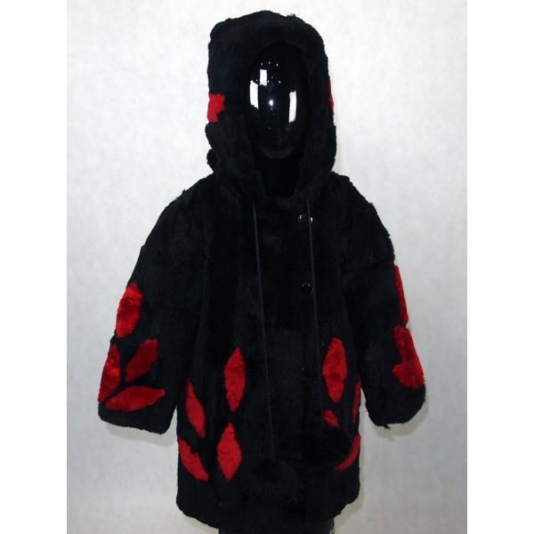 Шуба детская черная с красным из мутона