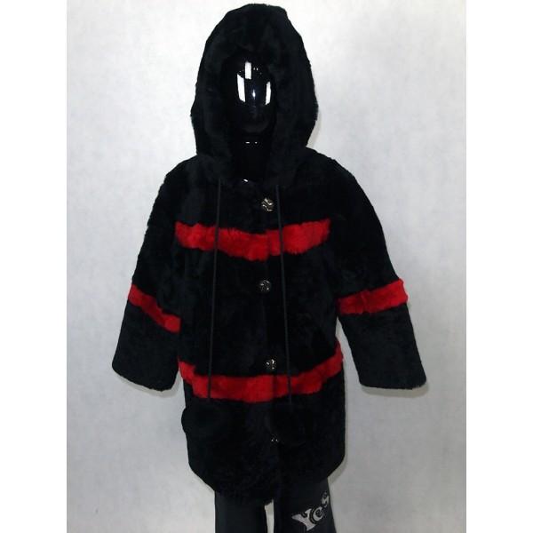 Шуба детская черная с красными полосами из мутона