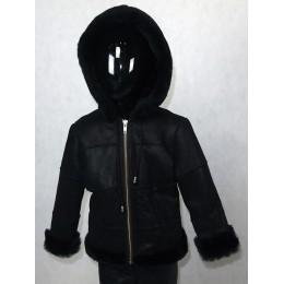 Дубленка детская черная с черным мехом