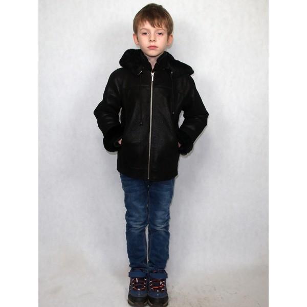 Дубленка детская черная с черным мехом модель 2016