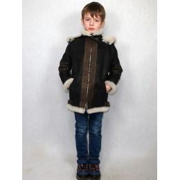 Дубленка-пилот детская коричневая с белым мехом