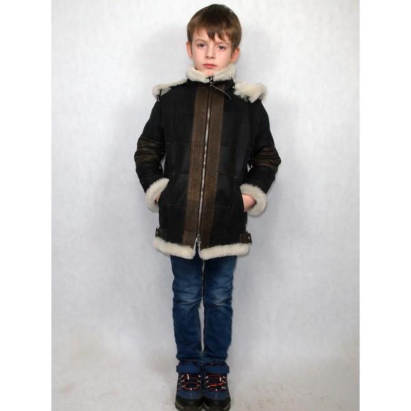 Дубленка-пилот детская коричневая с белым мехом, с коричневыми натуральными кожаными вставками