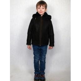 Дубленка детская коричневая с черным мехом