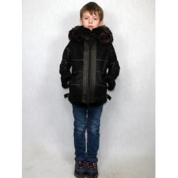 Дубленка-пилот детская черная с черным мехом