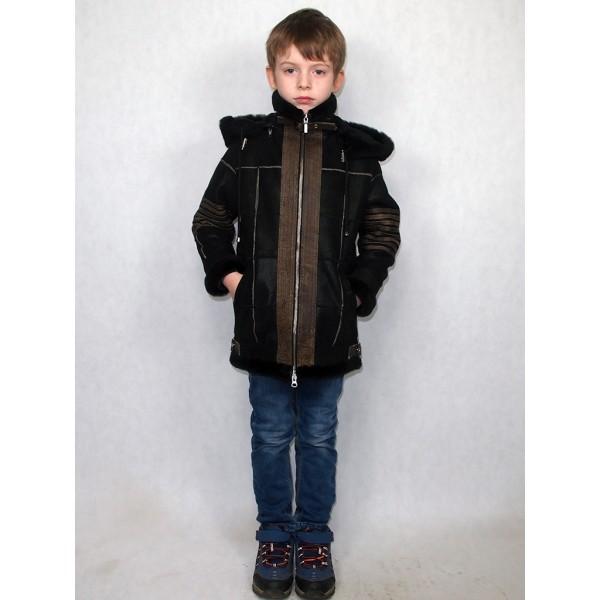 Дубленка-пилот детская черная из натуральной овчины с натуральными коричневыми кожаными вставками