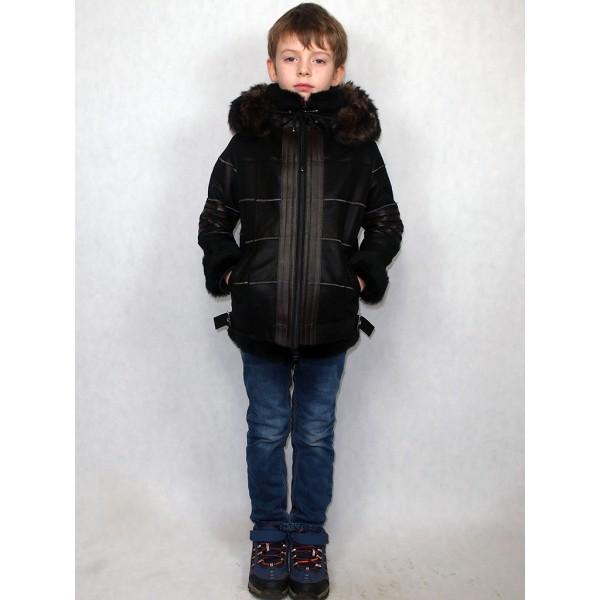 Дубленка-пилот детская черная + тоскана, с темно-коричневыми кожаными вставками