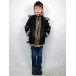 Дубленка-пилот детская коричневая с серым мехом