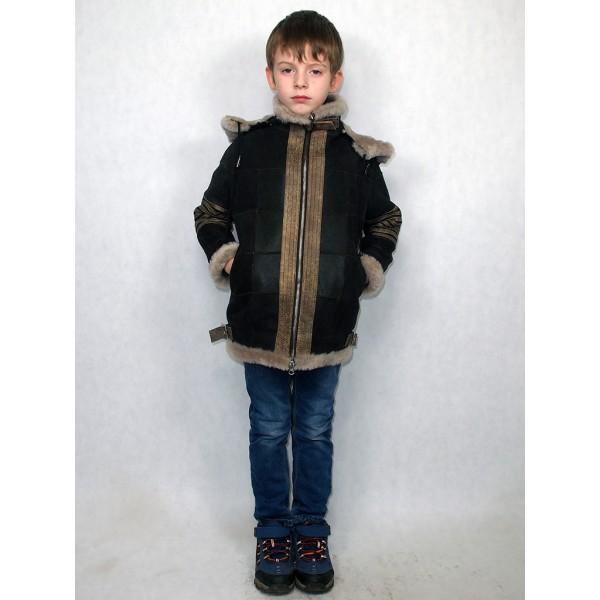 Дубленка-пилот коричневая с серым мехом, со светло-коричневыми натуральными кожаными вставками