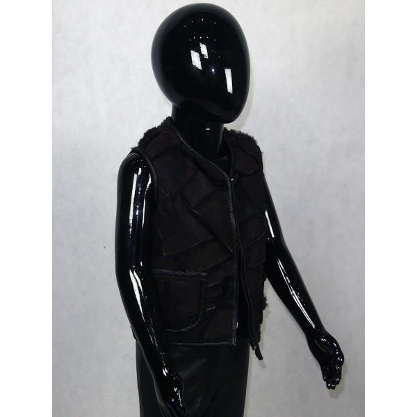 Жилет детский черный айс с черным мехом на молнии