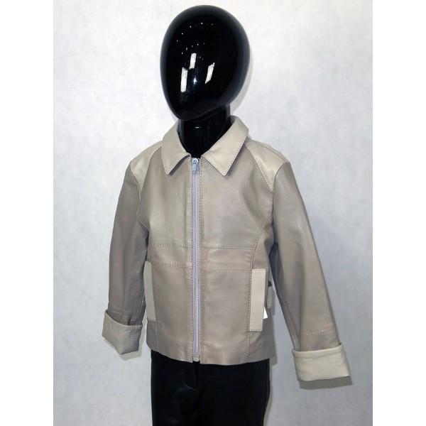 Куртка детская серая из натуральной кожи