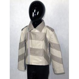 Куртка детская кожаная серая