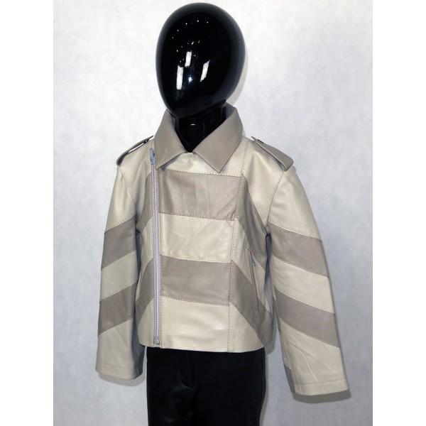 Куртка детская кожаная серая из натуральной кожи с темно-серыми кожаными вставками