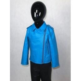 Куртка детская голубая из натуральной кожи