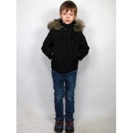 Детская куртка черная с волком(эко-мех)