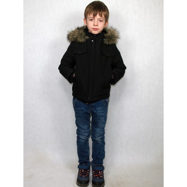 Детская куртка черная с волком модель 2016