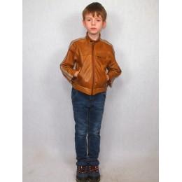 Куртка детская коричневая кожаная