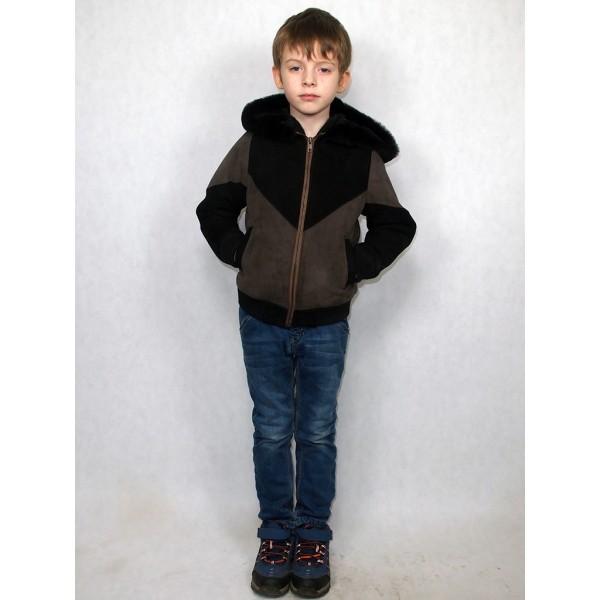 Куртка детская черно-серая из натуральной овчины с черным мехом