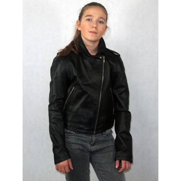 Куртка косуха черная из эко-кожи модель В-01
