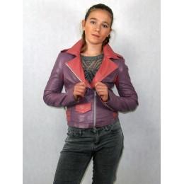 Куртка косуха сиреневая с розовым из эко-кожи