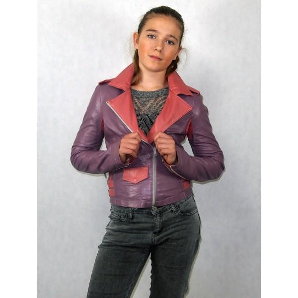 Куртка косуха сиреневая с розовым из эко-кожи модель В-01