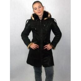 Дубленка подростковая коричневый айс с черным мехом