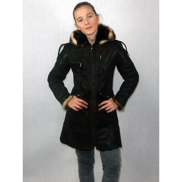 Дубленка подростковая коричневый айс с черным мехом, манжеты и опушка хорек модель 07