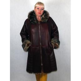 Дубленка женская бордо из тосканы 8025