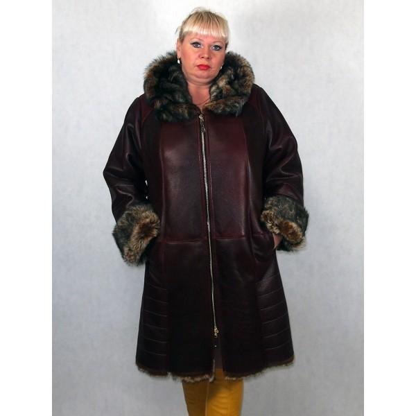 Дубленка женская бордо из тосканы, лазерное покрытие модель 8025