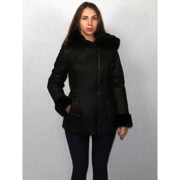 Дубленка женская черная с черным мехом, модель 1390