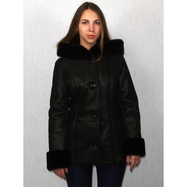 Дубленка женская черная с черным мехом модель 03/3