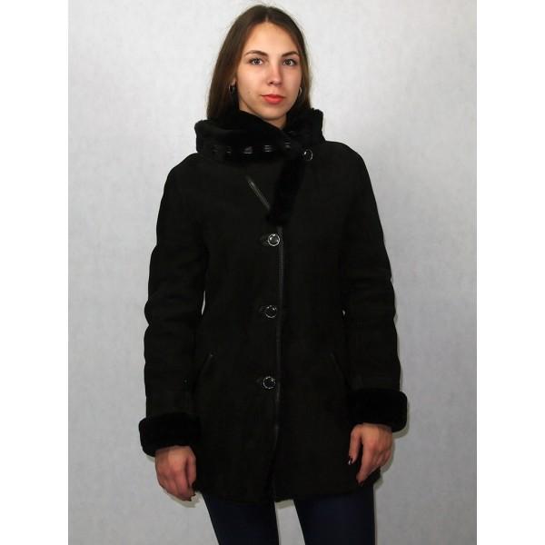 Дубленка женская черная с черным мехом и черной натуральной кожей модель 1002/1