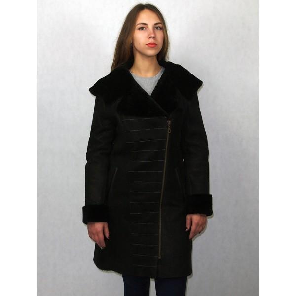 Дубленка женская черная с черным мехом лазерное покрытие модель 1010
