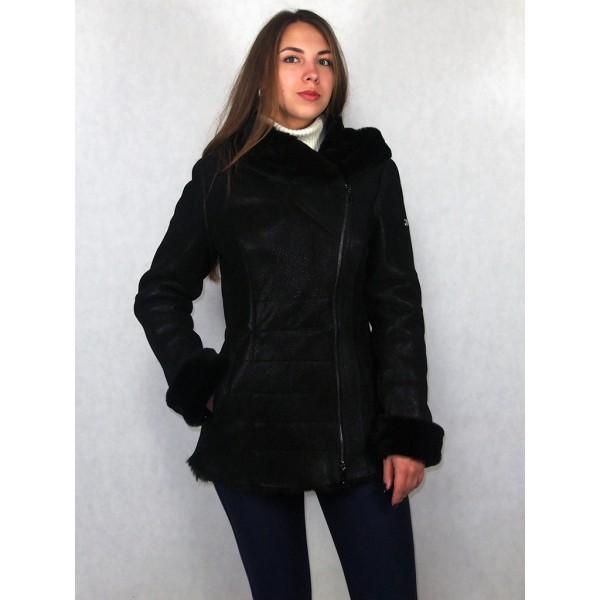 Дубленка женская черная с черным мехом, лазерное покрытие модель 1389
