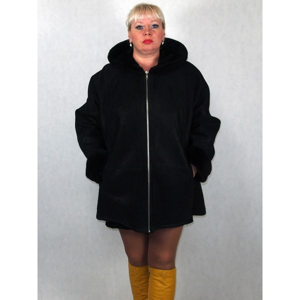 Дубленка женская черная с черным мехом, лазерное покрытие модель 1001