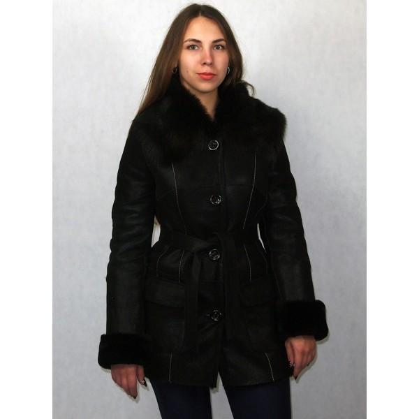 Дубленка женская черная с черным мехом, лазерное покрытие плюс мех тосканы модель 116