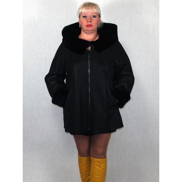 Дубленка женская черный айс с черным мехом с брошью, лазерное покрытие модель 1395