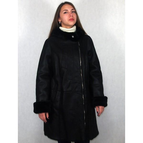 Дубленка женская черный айс с черным мехом модель 1394