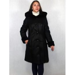 Дубленка женская черный айс с черным мехом