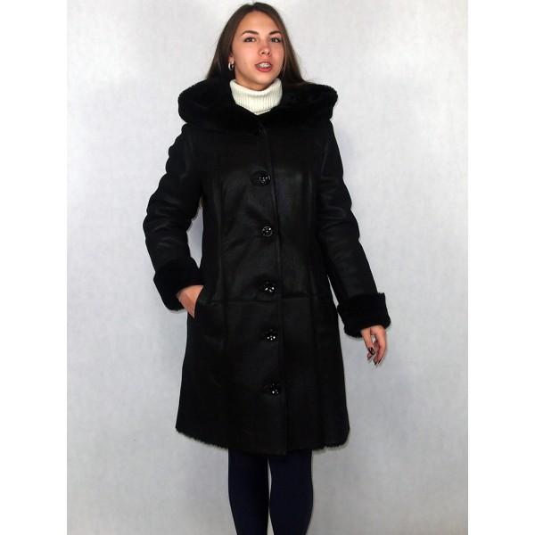 Дубленка женская черный айс с черным мехом, лазерное покрытие модель 03/2