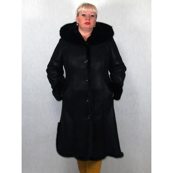 Дубленка женская черный айс с черным мехом, плюс норка, лазерное покрытие модель 08