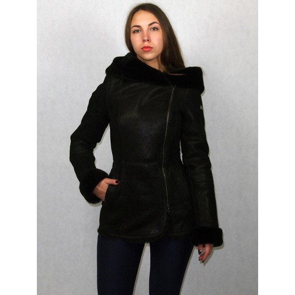 Дубленка женская черная с лазерной обработкой с черным мехом модель 1398