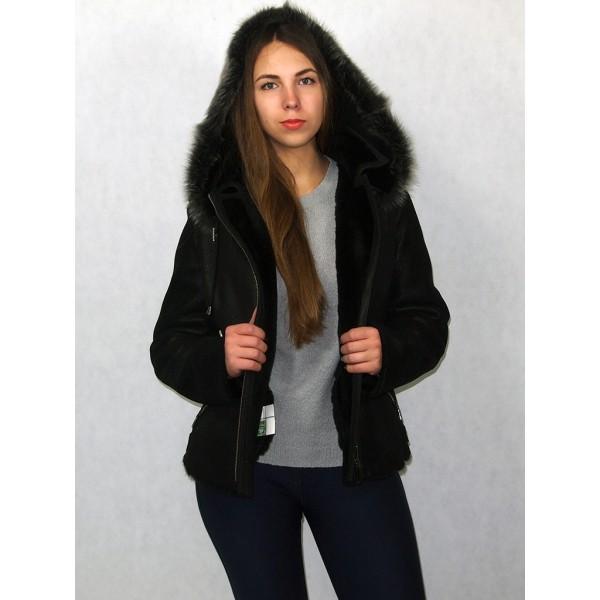 Дубленка-куртка женская черная с черным мехом, плюс мех серый тоскана. Модель КВ-02