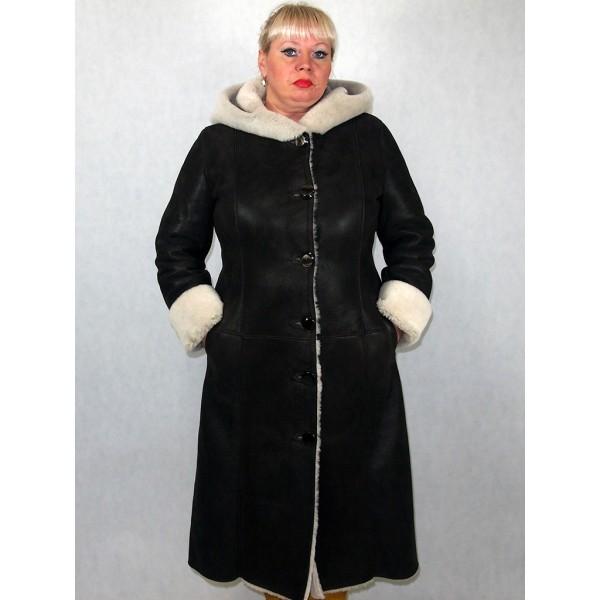 Дубленка женская коричневая с белым мехом модель 03/1