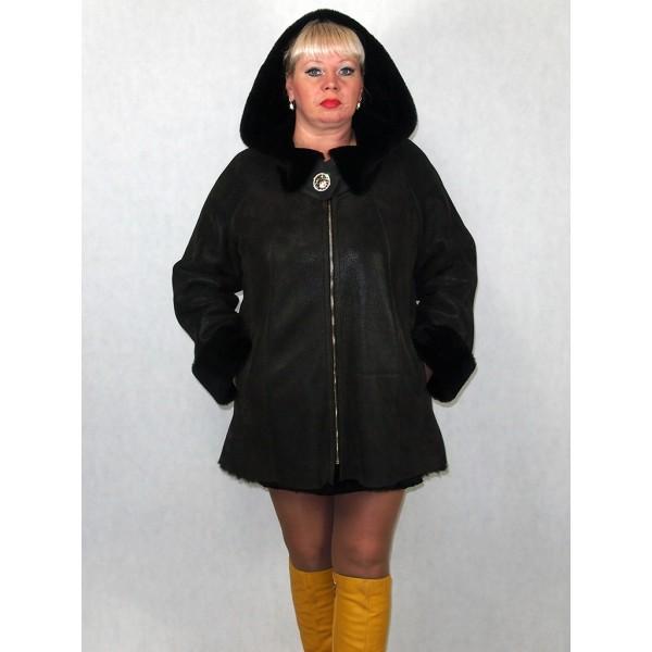 Дубленка женская коричневый айс с черным мехом с брошью, лазерное покрытие модель 1395