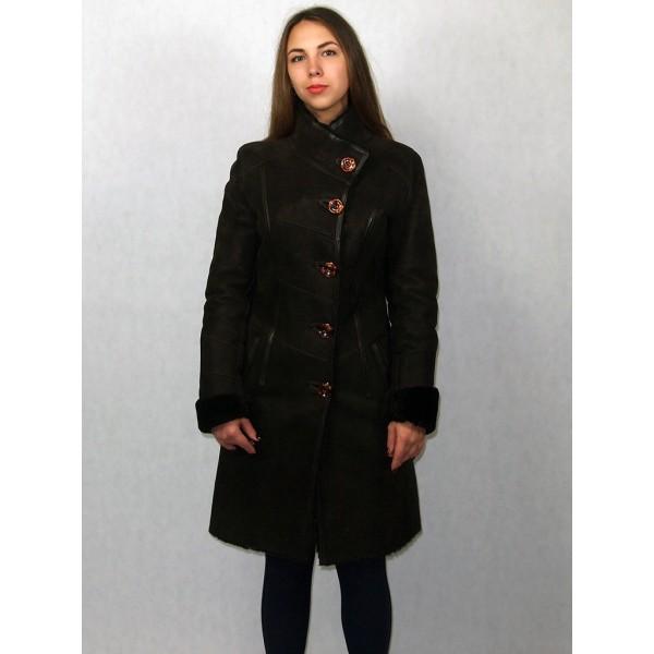 Дубленка женская коричневая с натуральной коричневой кожей, с черным мехом модель 1006