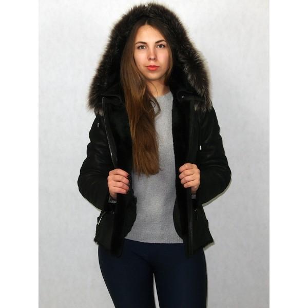Дубленка-куртка черный айс с черным мехом, плюс тоскана модель KB-2/1